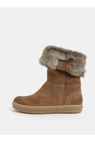 Světle hnědé dámské semišové kotníkové zimní boty s kožíškem Weinbrenner
