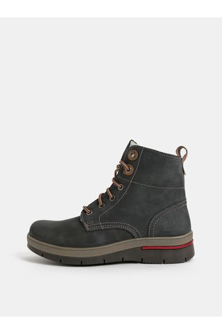 Tmavě šedé dámské kožené kotníkové zimní boty s umělým vnitřním kožíškem Weinbrenner