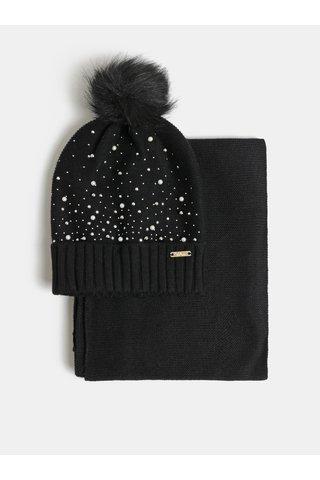 Sada čepice a šály v černé barvě v dárkovém balení Something Special