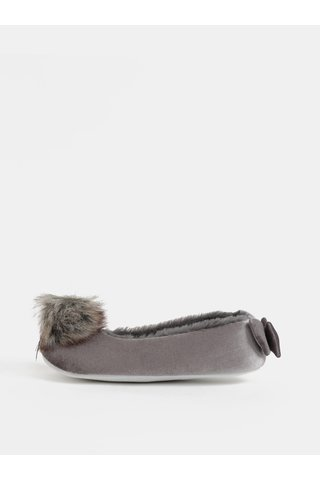 Set cadou de papuci gri cu pom pom si funda Something Special