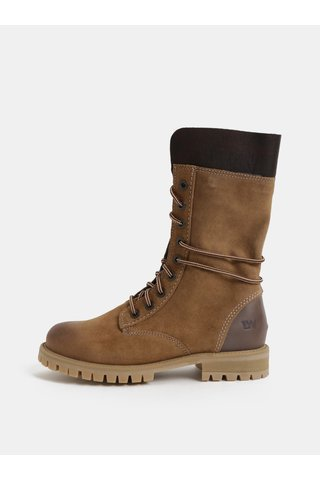 Hnědé dámské semišové kotníkové zimní boty se šněrováním Weinbrenner