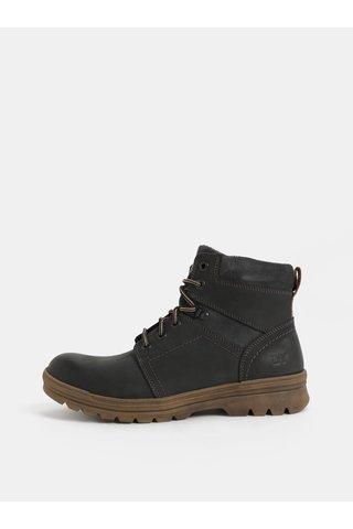 Tmavě šedé pánské kožené kotníkové zimní boty se semišovými detaily Weinbrenner