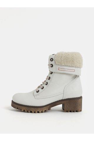 Bílé dámské kožené kotníkové zimní boty na podpatku Weinbrenner
