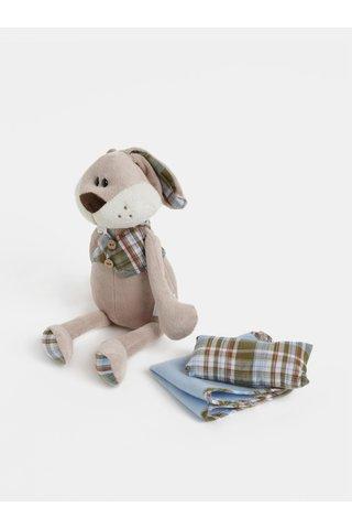 Modro-béžový plyšový králík s dečkou a polštářem v dárkovém balení Something Special