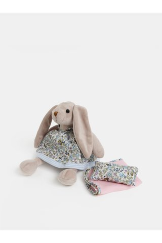 Iepure de plus roz-bej cu patura si perna in cutie de cadou Something Special