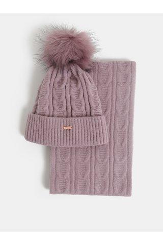 Sada čepice a šály ve fialové barvě v dárkovém balení Something Special