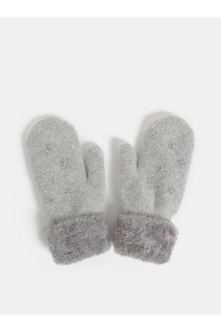Set cadou de manusi gri cu un deget si amestec de lana angora Something Special