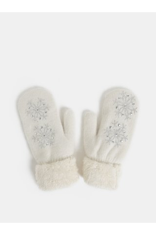Set cadou de manusi albe cu un deget si amestec de lana angora Something Special