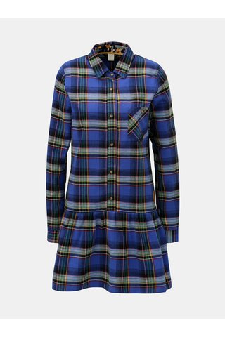 Tmavě modré kárované košilové šaty Femi Stories
