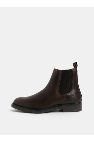 Tmavě hnědé pánské kožené chelsea boty Bullboxer