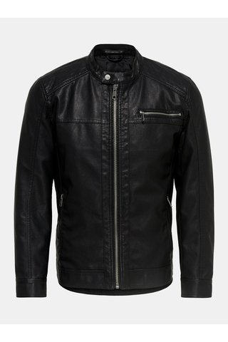 Jacheta neagra din piele sintetica ONLY & SONS Konrad