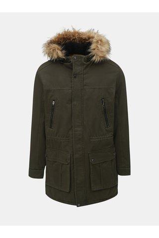 Khaki zimní parka s umělým kožíškem ONLY & SONS Bidal