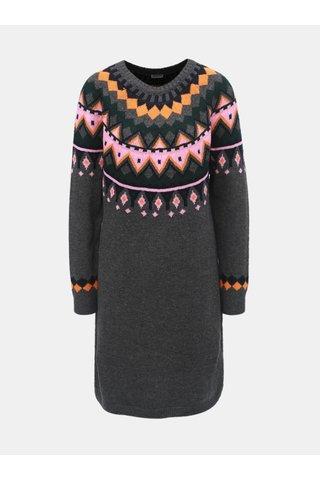 Rochie gri inchis tricotata cu model Noisy May Lund