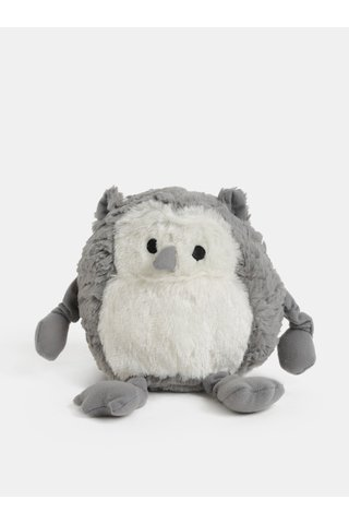 Bílo-šedá nahřívací plyšová sova s vůní levandule Something Special Cozy