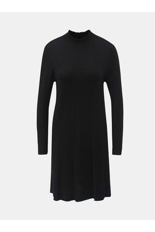 Rochie neagra tricotata cu guler inalt si maneci lungi ONLY Mila