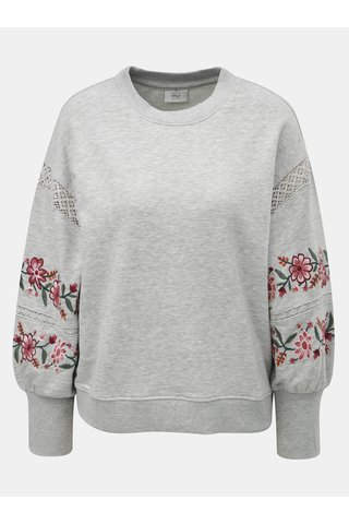 Bluza sport gri melanj lejera cu broderie florala si detaliu din dantela ONLY Lisa