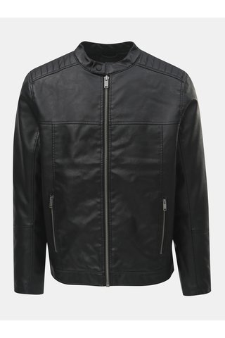 Jacheta neagra din piele sintetica Burton Menswear London Racer