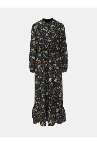 Rochie maxi neagra florala cu maneci lungi ONLY Rachel