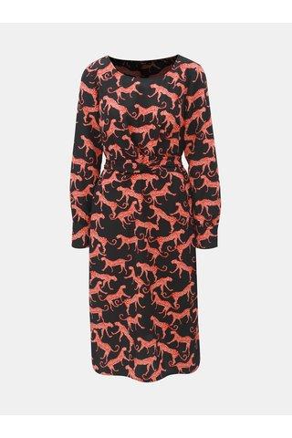 Rochie rosu-negru cu model si snur ONLY Caysa