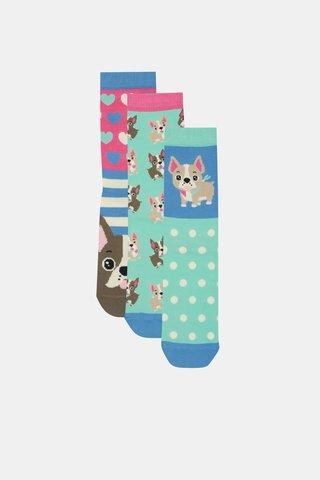Sada tří ponožek v růžovo-modré barvě s motivem psů Oddsocks Lucy
