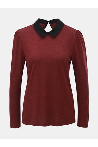 Vínové tričko s dlouhým rukávem a krajkovým límečkem ONLY Wilma