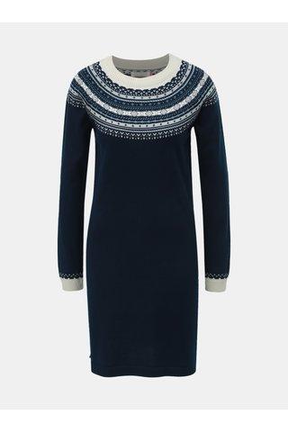 Rochie albastru inchis tricotata cu model norvegian Brakeburn