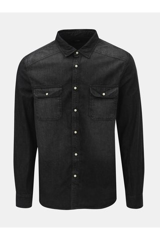 Camasa neagra din denim Burton Menswear London Western