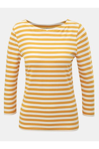 Tricou basic alb-mustar in dungi cu maneci 3/4 ONLY Fifi