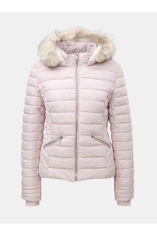 Jacheta roz deschis matlasata de iarna cu blana artificiala TALLY WEiJL