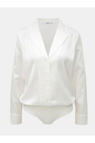 Bílé body s dlouhým rukávem a límečkem ONLY Caya