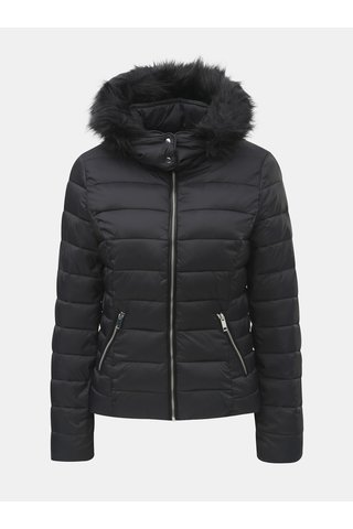 Jacheta neagra matlasata de iarna cu gluga detasabila TALLY WEiJL Woven