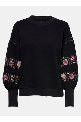 Bluza sport neagra lejera cu broderie florala si detaliu din dantela ONLY Lisa