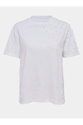 Bílé tričko s krátkým rukávem a korálkovou aplikací Jacqueline de Yong Bugs
