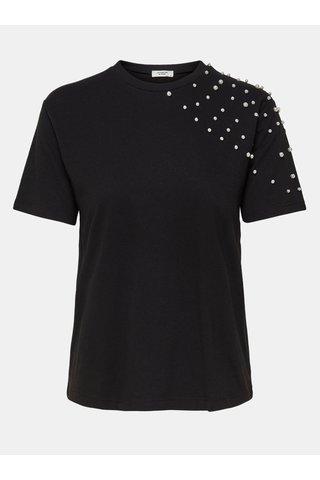 Tricou negru cu maneci scurte Jacqueline de Yong