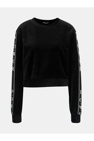 Bluza sport neagra scurta catifelata cu dung pe maneci TALLY WEiJL