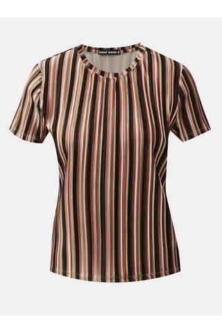Tricou negru-maro catifelat in dungi cu striatii TALLY WEiJL