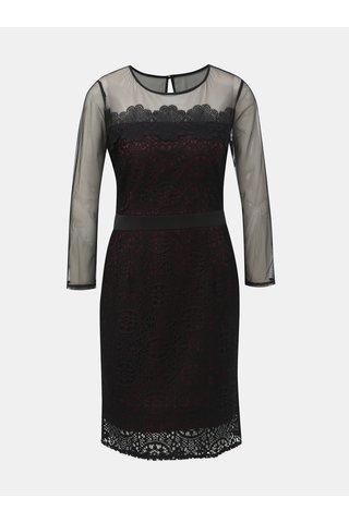 Rochie bordo-negru din dantela si detalii transparenti Dorothy Perkins