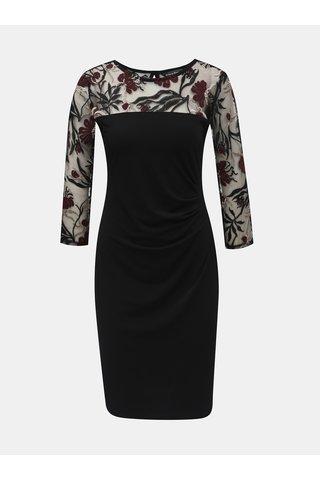 Rochie neagra cu maneci transparenti cu model si pliuri laterale Billie & Blossom