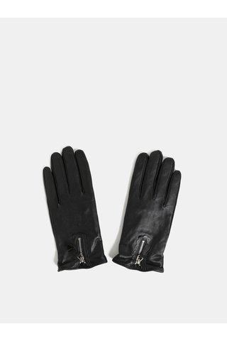 Černé kožené rukavice s ozdobným zipem Dorothy Perkins