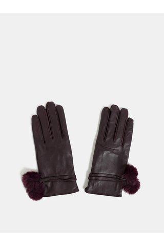 Vínové kožené rukavice s bambulkami Dorothy Perkins