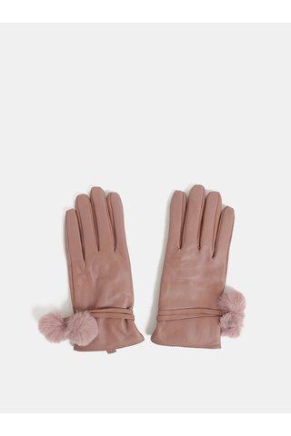 Světle růžové kožené rukavice s bambulkami Dorothy Perkins