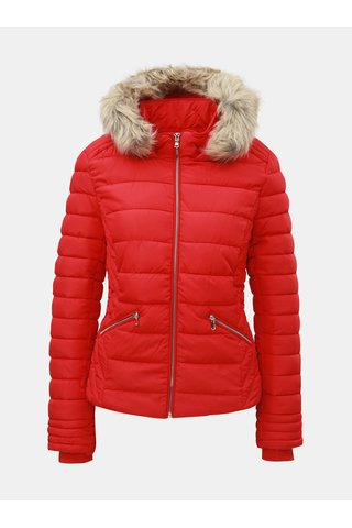 Jacheta rosie matlasata de iarna cu blana artificiala TALLY WEiJL