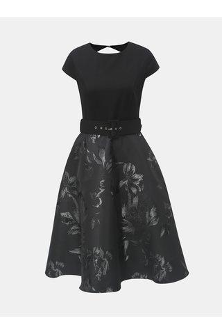 Rochie midi neagra florala cu cordon si decupaj Dorothy Perkins