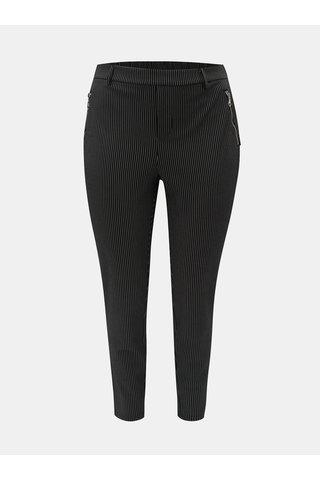 Pantaloni negri in dungi Zizzi