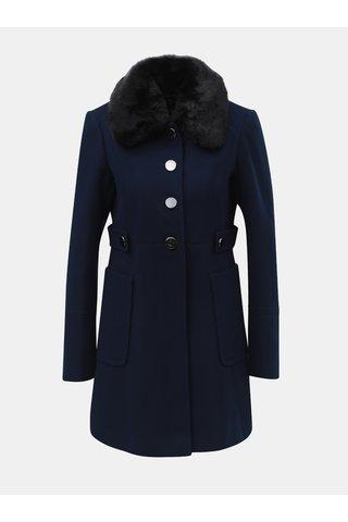 Tmavě modrý kabát s odnímatelným límcem z umělé kožešiny Dorothy Perkins