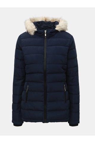 Tmavě modrá prošívaná zimní bunda s umělým kožíškem Dorothy Perkins