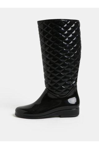 Cizme de ploaie negre luciosi cu model plastic OJJU