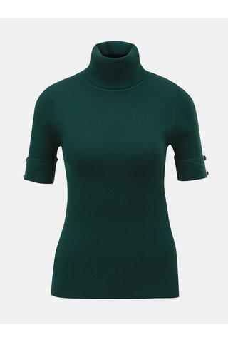 Tmavě zelený svetrový top s rolákem a krátkým rukávem ZOOT