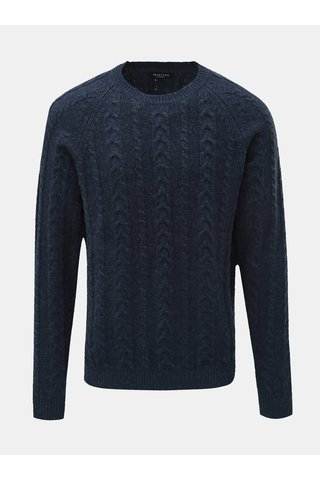 Pulover albastru inchis din lana cu decolteu rotund Selected Homme Bravo
