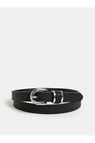 Černý pásek s detaily ve stříbrné barvě Pieces Lusia